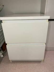 Ikea Malm white 2-drawer bedside tables (2)