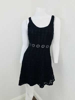 Nylon Eyelet - PHANUEL Small Dress Black Cotton Nylon Eyelet Daisy Scoop Neck Back Skater