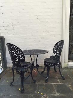 Black vintage cast iron table and two chairs Bondi Junction Eastern Suburbs Preview