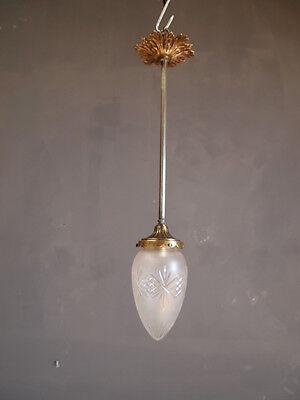 ART DECO Lampe Messing  Satinglas-Zapfen Jugendstil Deckenlampe um 1910/20 -TOP-