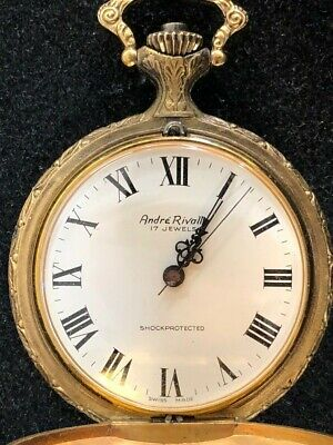 Swiss Made Andre Rivalle 17 Jewels Vintage Mechanical Wind Up Pocket Watch WORKS