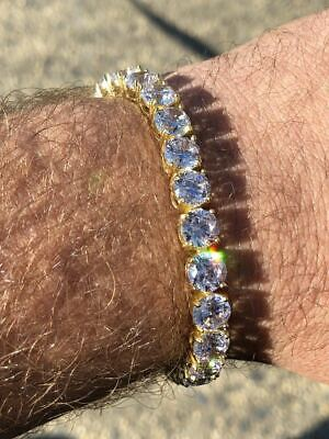 Mens Tennis Bracelet 14k Yellow Gold Over Solid 925 Silver 7mm 35ct Lab Diamond for sale  Shipping to South Africa