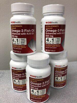 Omega-3 Krill Fish Oil 900mg 200 (40x5) Softgels Exp 02/2020 vs Mega Red