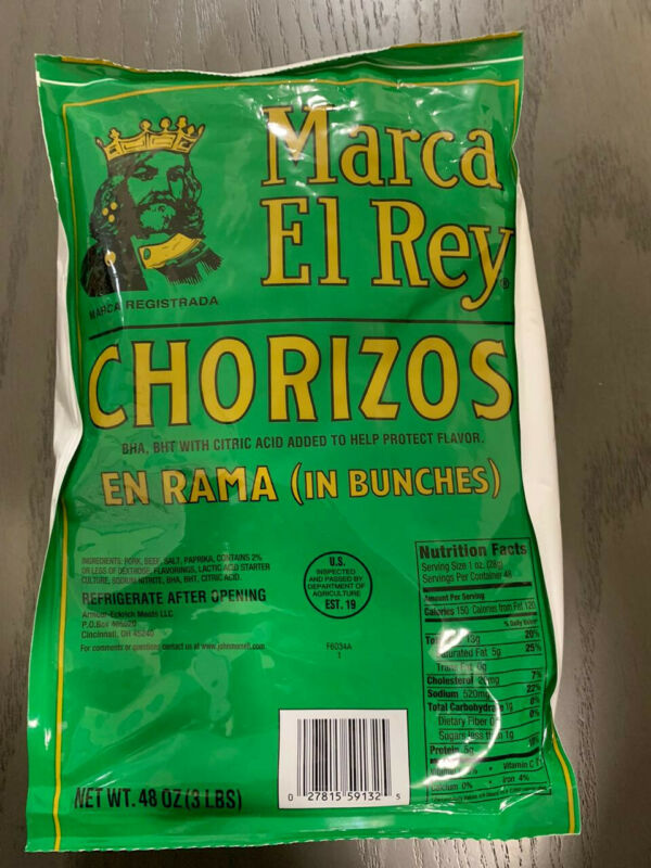 Chorizos Espanot(Marca El Rey Chorizos)- 1 Bag