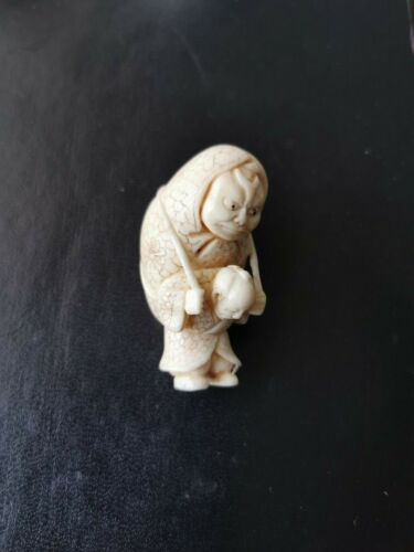 19th Century Japanese Netsuke  Carved Old Men. Masakazu  signed .
