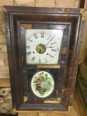 Antique American Seth Thomas wooden cased wall clock spares or refurbishment