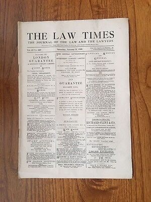 1920 Vintage Newspaper THE LAW TIMES  January 31.1920.Gen.Original.Birthday/gift
