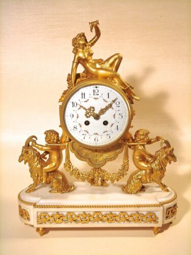 Antique French Belle Epoque Fancy Gilt Dore Bronze Figural Nude Mantle Clock