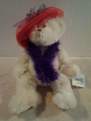 """GANZ Red Hat Society plush Ivory colored """"RUBY"""" 14"""" bear - NWT"""