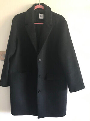 GAP OVERSIZED BOXED COCOON BLACK WOOL COAT L size 14