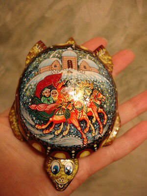 Large Russian Lacquer Palehk Box Hand Painted Signed Turtle -