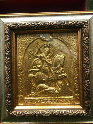 HANDMADE GILDED RUSSIAN ICON ST. GEORGE COPPER GOLD CHRISTIAN ICON Ikona Икона