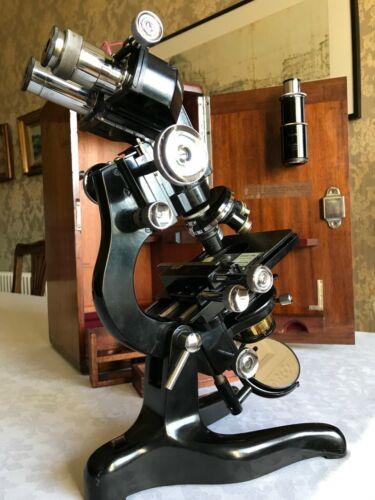 Vintage W. Watson & Sons Ltd Bactil Mono/Binocular Microscope, circa 1949, Cased