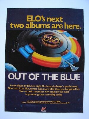 ELECTRIC LIGHT ORCHESTRA ELO FULL PAGE AD OUT OF THE BLUE TOUR 1977 NEW ALBUM!