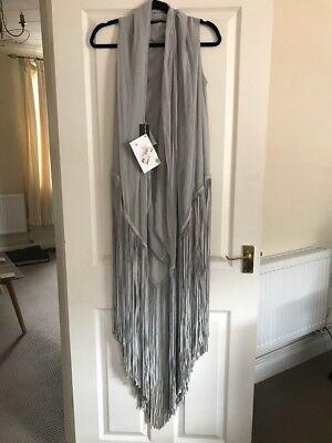 Amazing Gareth Pugh Grey Leather And Silk Fringe Boho Dress In Size S ❤️