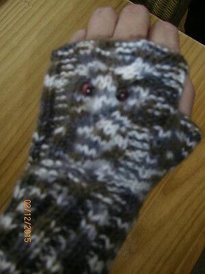 Stulpen ,Eulenstulpen ,Armstulpen - handgestrickt - braun/weiß
