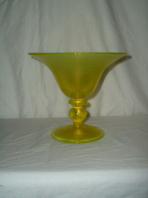 Vintage Iridescent Art Glass Stretch Canary Yellow Vaseline Pedestal Bowl