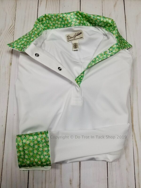 Tailored Sportsman Ladies ICEFIL Show Shirt - Green w/Tiny Flowers