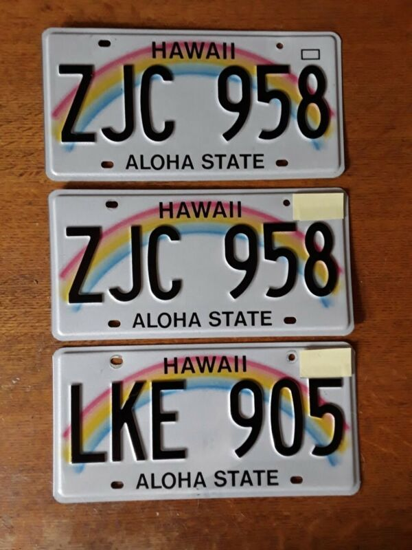 LOT OF 3 HAWAII LICENSE PLATES - RAINBOW ALOHA STATE - EXCELLENT CONDITION