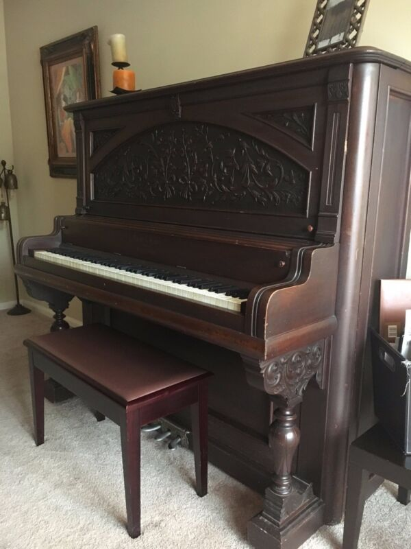 Antique Vose & Sons Upright Piano, Completely Rebuilt Interior, Beautiful Sound