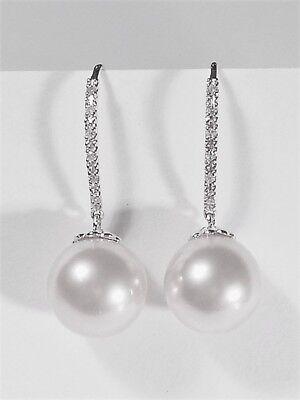 - 10.5mm white South Sea pearl dangle earrings,diamonds,solid 14k white gold