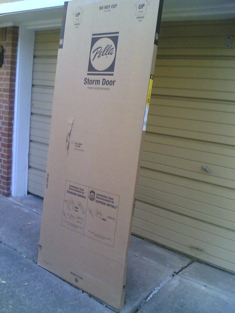 Nib Pella 32 X 80 High Storm Door With Full View Glass Screen