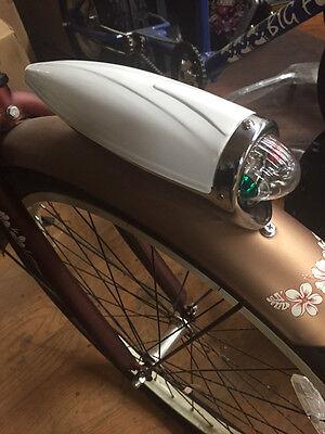 Bicycle headlight torpedo streamline vintage bike light two tone chrome ivory