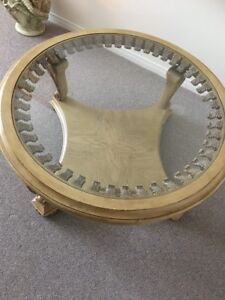Fine solid Italian wood and glass coffee table