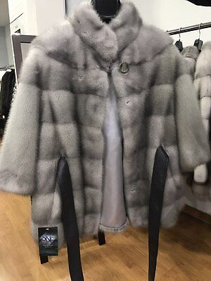 100% Natural Mink Womens Fur Coat Sapphire Gray with Leather Belt Size S - M - L