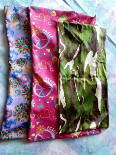(3) Stretchable Cloth Book Covers Washable Large Purple Design, L Pink, Med Camo