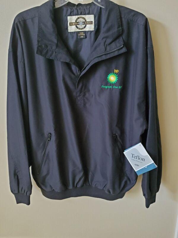 BP British Petroleum Helios Logo Black 1/4 Zip Pullover Windshirt Jacket L XL
