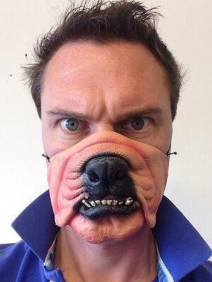 Hund-Maske Lustig Halbes Gesicht Tier Bulldog Verkleidung Kostümparty Maskerade