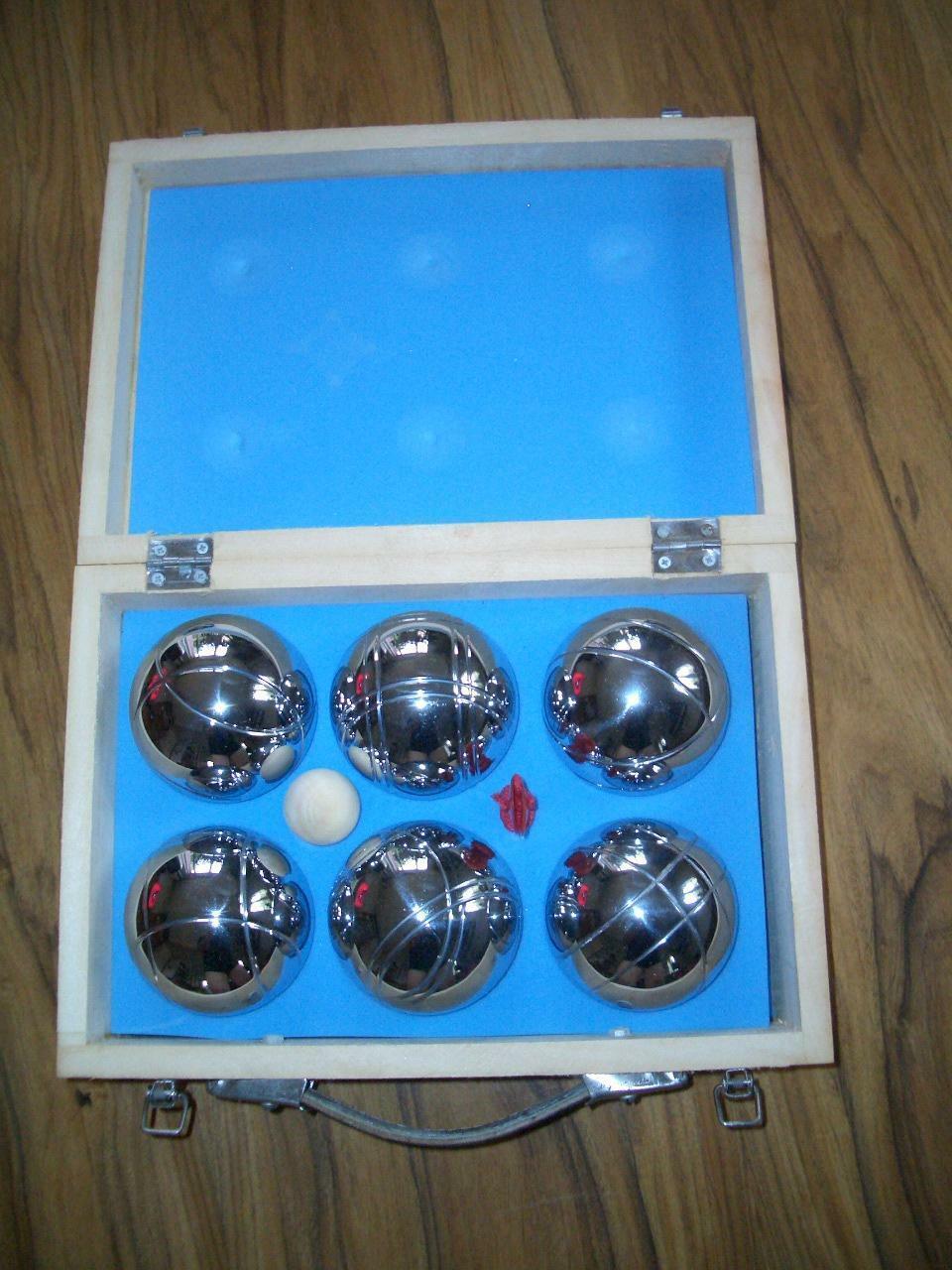 Boule Set 6 Boulekugeln in Holzkoffer NEU unbenutzt