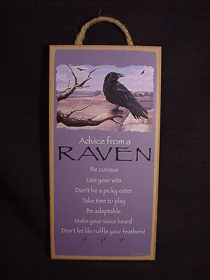 "ADVICE FROM A RAVEN wild black bird 10"" X 5"" Wood SIGN wall NOVELTY PLAQUE crow"