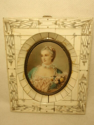 Antique Hand Painted Lady Portrait Bone Frame Signed Baucher