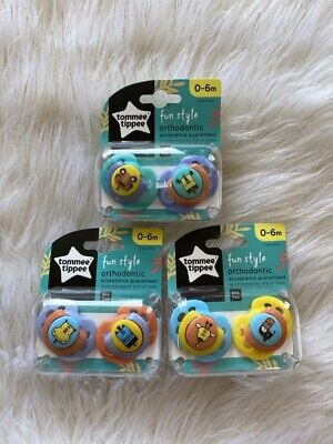 Tommee Tippee Fun Style Orthodontic Pacifier 0-6 Months NIP