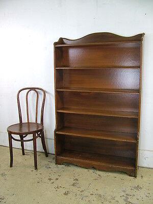 Antique Vintage Stepback Grain Painted Open Bookcase Primitive Cupboard Shelving