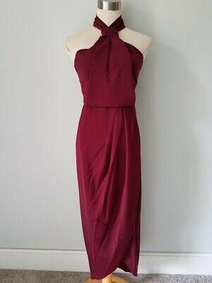 NEW SHONA JOY CORE KNOT DRAPED DRESS in BURGUNDY SZ 2