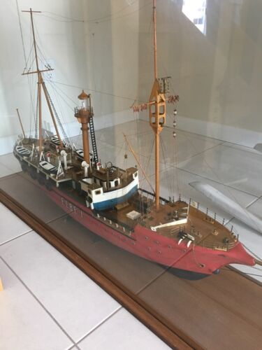 Vintage Lightship ELBE 1 MODEL, large handmade wood model, custom glass case.