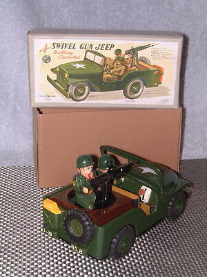 Vintage Nomura Swivel Gun Jeep Battery Operated  Fully Working W Original Box