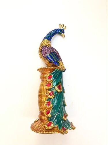 "7"" BEJEWELED PEACOCK STATUE TRINKET JEWELRY BOX"