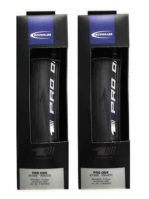Schwalbe PRO ONE 2018 Tubeless Clincher 700 x 25 all black 2 tires (NEW) NIB