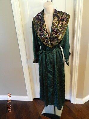 Vintage-Victoria's Secret Robe & Gown P/s Green Jacquard Beaded Set-L@@K
