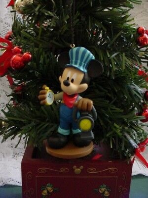 DISNEY MICKEY MOUSE RAILROAD CONDUCTOR ENGINEER CUSTOM ORNAMENT NEW - Mickey Mouse Custom