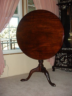 18th c. Mahogany Tilt-Top Bird Cage Tea Table with Rare Snake and Egg Feet