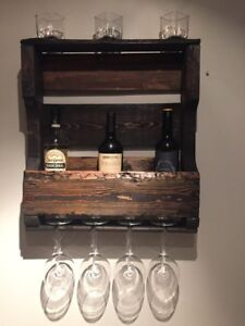Hand crafted 4 bottle, 4 glass wine rack