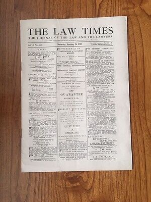 1920 Vintage Newspaper THE LAW TIMES January 24 1920.Gen.Original.Birthday/gift?