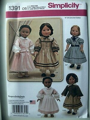 Simplicity Pattern 1391 Civil War Doll Costume for 18
