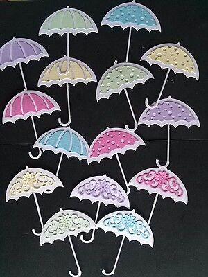 15St. Kartenschmuck Kartenaufleger Regenschirm Scrapbooking Basteln Papier Foto