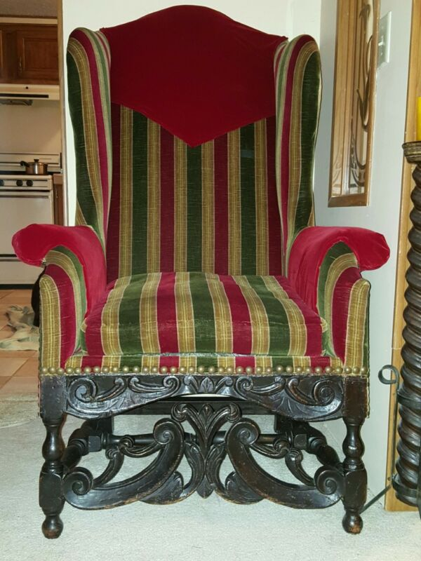 Rare Majestic 17th Century - Early 18th Century Walnut Baroque Wing Chair